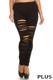Plus Size Solid full length fitted leggings with high waist and slash detailing.
