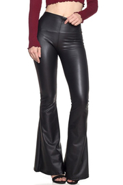 Faux leather full length flared legs pants.