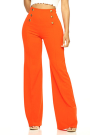 Solid full length pants in a flare style with a high waist, wide legs and a 6 button trim.