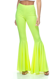 Full length mermaid ruffled flare pants.