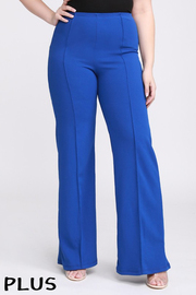 Plus Size Solid, full length pants in a flare style with a high waist, and wide lengs.