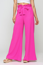 Wide leg elastic band with tie waist scuba crepe fabic.