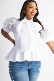 Plus Size Contrast puff short sleeve peplum top with neck tie.
