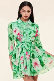 An airy mint green and floral print collared mini dress