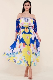 Colorful bold print midi dress
