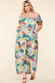 Plus Size Tropical flower print off the shoulder jumpsuit
