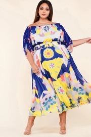 Plus Size Colorful bold print midi dress