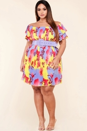 Plus Size This bright colored pleated mini dress