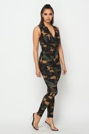 Military print collared bodysuit with leggings.