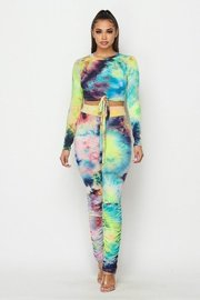 Tie dye two piece set with tie front