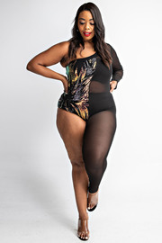 Plus Size Sequins & Mesh one shoulder long sleeve body jumpsuit. long sleeve body jumpsuit.