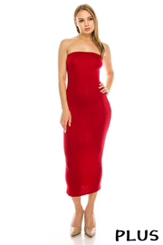 Plus Size Solid tube dress.
