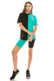 Cotton lycra color block shorts set.
