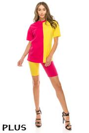 Plus Size Cotton lycra color block shorts set.