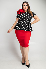 Plus Size Polka dot peplum top with contast color bottom dress.