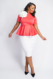 Plus Size Short sleeve peplum dress with flower.