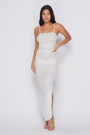 All over ruched maxi dress with slit on the side.