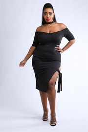 Plus Size Choker neck ite skirt dress.