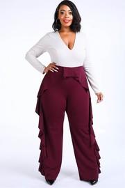 Plus Size Ruffled pants detailed color block jumpsuit.