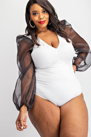 Plus Size Organza puff sleeve bodysuit.