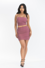 Mesh tubular strap straight nk crop mini skirt.