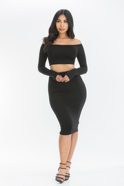 Off shoulder mini skirt set.