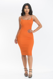 Solid bodycon dress.