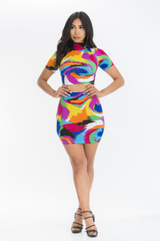 Multi color 2 piece set crop top & skirt.