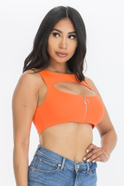 Sleeveless Mandarin Crop top With Zipper