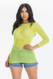 Fishnet Mesh Top with Long Sleeves