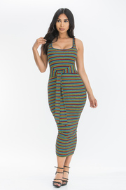 Striped Sleeveless Midi Dress with Waist tie