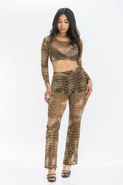 Crocodile Mesh Print Crop top and Pants Set