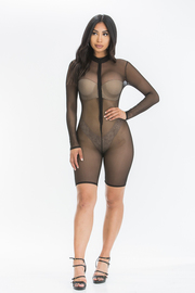 Mesh Romper with Front Zipper