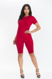 Solid Round Neck Short Sleeve Set With Capri Shorts