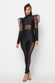 Puff slv. Solid jumpsuit with mesh detail.