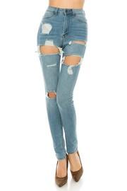 High Rise skinny jeans light blue wash.