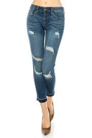 Middle rise skinny jeans medium blue wash.