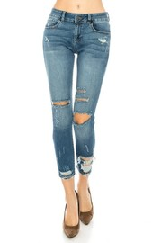 Middle rise skinny jeans dark blue wash.