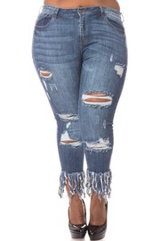 Plus Size High rise skinny jeans medium blue wash.