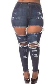 Plus Size High rise skinny jeans dark blue wash.