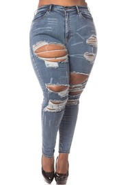 Plus Size High rise skinny jeans dark blue wash.