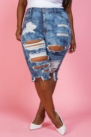 Plus Size Capri medium blue wash.