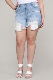 Plus Size Denim shorts light blue wash.