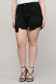 Plus Size Denim black shorts.