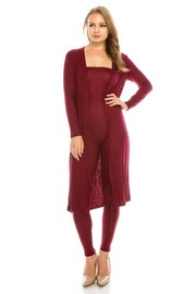 Solid 2 pce set tube jumpsuit & cardigan.