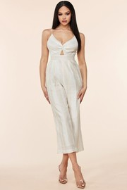 This Oatmeal linen blend jumpsuit