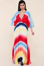 Multicolor gradient print maxi dress