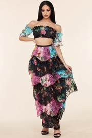 Butterfly floral print chiffon skirt set