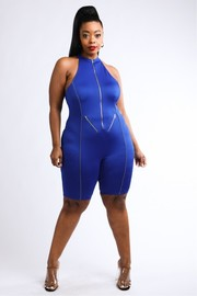 Plus Size zipper detailed reflective piping romper.