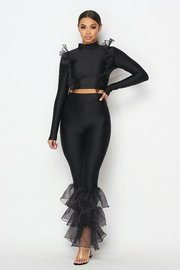 2 piece set with organze ruffle top and 3tiered organze flared pants